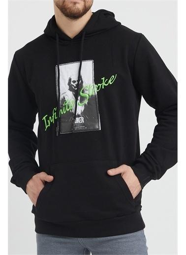 XHAN Haki Nakış Detaylı Sweatshirt 1Kxe8-44366-09 Siyah